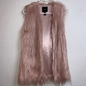ADORABLE pink shaggy faux fur vest